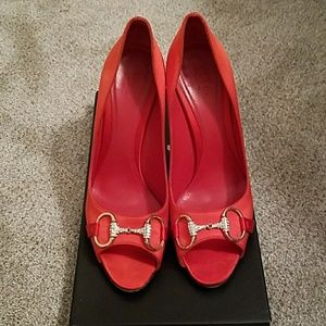 Gucci Red Satin Opentoe Shoes 8.5